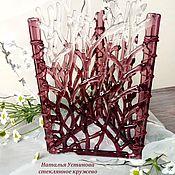 """Для дома и интерьера ручной работы. Ярмарка Мастеров - ручная работа Ваза-подсвечник из стекла """"Вишневый лес"""", фьюзинг. Handmade."""