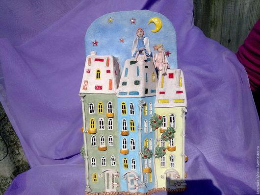 """Освещение ручной работы. Ярмарка Мастеров - ручная работа. Купить Бра """" Ангелочки над городом """". Handmade. ночник"""