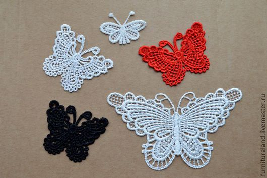 """Аппликации, вставки, отделка ручной работы. Ярмарка Мастеров - ручная работа. Купить Кружевные мотивы """"Бабочка"""", 3 размера.. Handmade."""