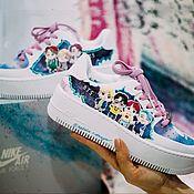 Обувь ручной работы handmade. Livemaster - original item BTS K pop group Shoe painting. Custom Nike air Force 1 sneakers. Handmade.