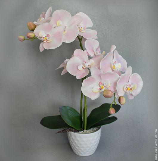 Интерьерные композиции ручной работы. Ярмарка Мастеров - ручная работа. Купить Орхидея розовая с крупными цветами. Handmade. Бледно-розовый
