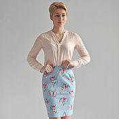 Одежда handmade. Livemaster - original item Skirt blue cotton roses. Handmade.