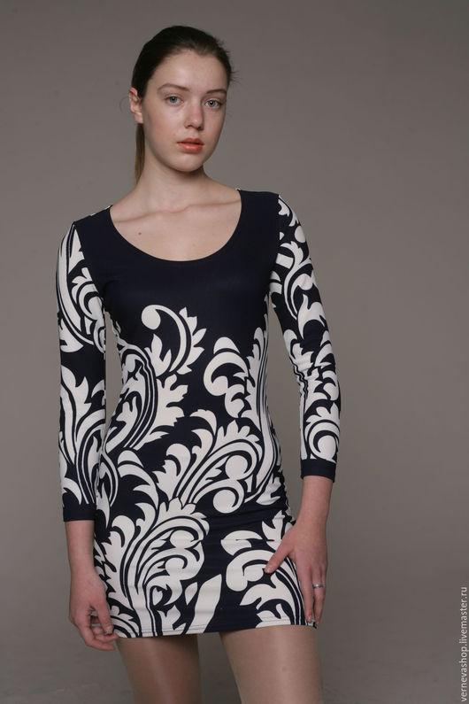 Платья ручной работы. Ярмарка Мастеров - ручная работа. Купить Платье в обтяжку из джерси «Морозные узоры». Handmade. Тёмно-синий
