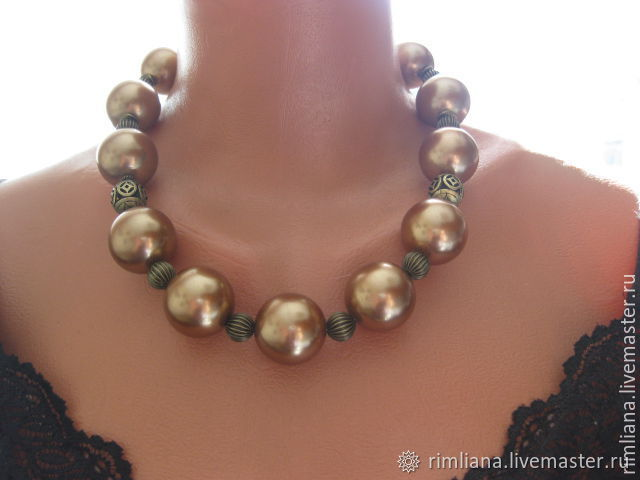 Necklace 'Large pearl' 25 mm -color pearl - bronze, Necklace, Moscow,  Фото №1
