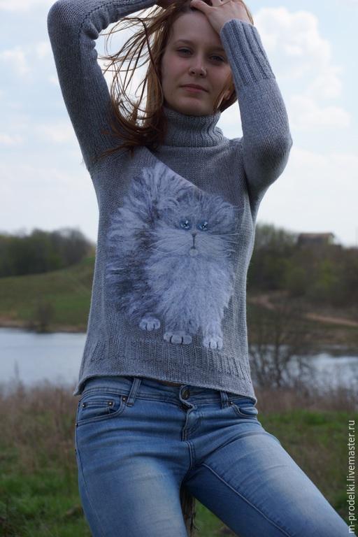Кофты и свитера ручной работы. Ярмарка Мастеров - ручная работа. Купить Свитер вязаный Cat  (12). Handmade. Серый, нежный