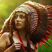 Одежда ручной работы. Ярмарка Мастеров - ручная работа Индейский головной убор - Пламя Заката. Handmade.