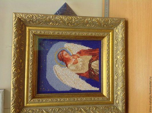 """Иконы ручной работы. Ярмарка Мастеров - ручная работа. Купить Икона ,,Ангел Хранитель"""". Handmade. Синий, иконы вышитые бисером"""