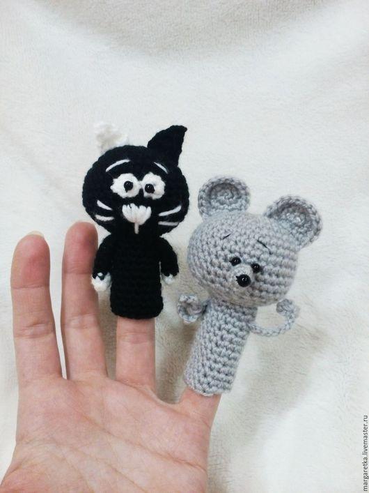 Кукольный театр ручной работы. Ярмарка Мастеров - ручная работа. Купить Кошки-мышки. Handmade. Черный, пальчиковые игрушки, мышка