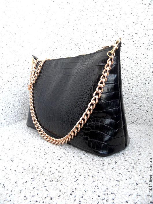 Женские сумки ручной работы. Ярмарка Мастеров - ручная работа. Купить СИЯНИЕ кожаная сумочка, черный, золотой, большая сумочка, внутри замша. Handmade.