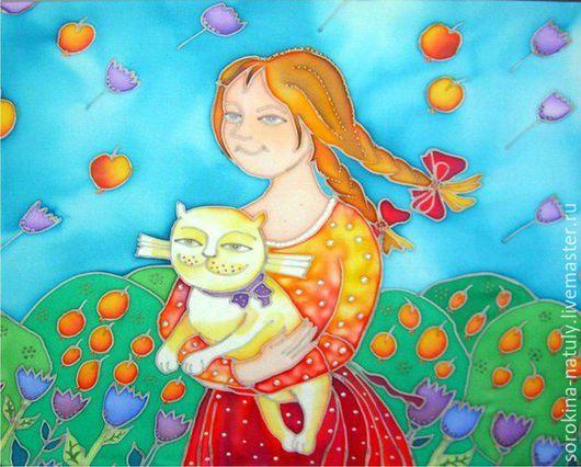 Картина батик `Девочка и котик` прекрасное украшение детской комнаты. Сделайте мир ребёнка ярче и жизнерадостней.