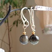 Украшения handmade. Livemaster - original item Earrings with gold obsidian and silver 925 with gilt. Handmade.