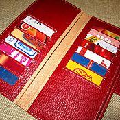 Сумки и аксессуары handmade. Livemaster - original item Cardholders in 32 cards. Red/ beige. Purse. Copernica. Credit card.. Handmade.