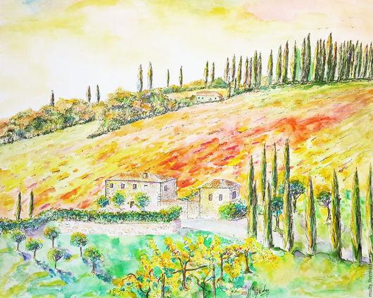 Пейзаж ручной работы. Ярмарка Мастеров - ручная работа. Купить Холмы Тосканы. Handmade. Акварельная картина, акварельная живопись