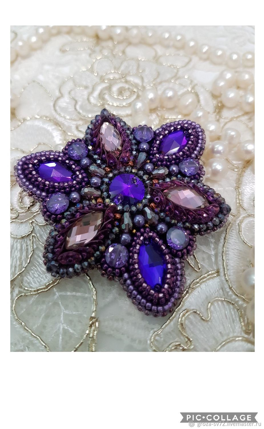 Brooch beaded 'shooting stars-2', Brooches, Moscow,  Фото №1