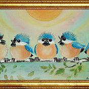 """Картины и панно ручной работы. Ярмарка Мастеров - ручная работа Картина на шелке """"Птахи"""". Handmade."""