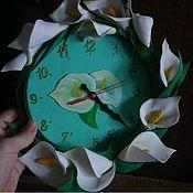 Часы классические ручной работы. Ярмарка Мастеров - ручная работа Часы настенные с цветами из фоамирана. Handmade.