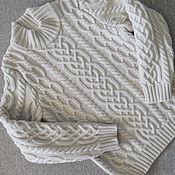 Работы для детей, ручной работы. Ярмарка Мастеров - ручная работа Мериносовый светло-бежевый свитер для мальчика. Handmade.