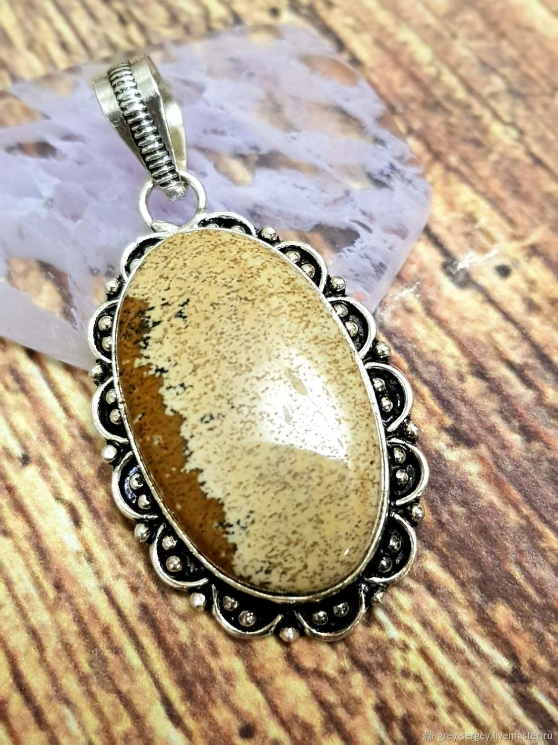 Silver plated pendant with natural Desert Jasper, Pendant, ,  Фото №1