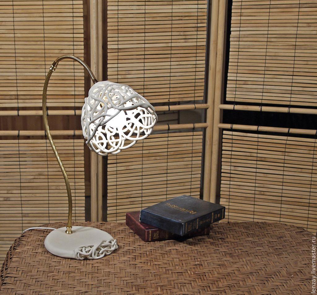 Керамическая настольная лампа. Плетеная керамика Елены Зайченко
