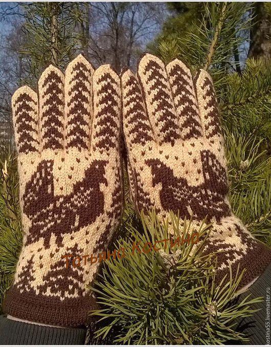 Варежки, митенки, перчатки ручной работы. Ярмарка Мастеров - ручная работа. Купить мужские перчатки Глухарь. Handmade. Бежевый