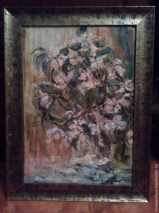 Картины цветов ручной работы. Ярмарка Мастеров - ручная работа. Купить яблоневый цвет. Handmade. Белый, оливковый, охра, мастихин