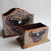 "Канцелярские товары ручной работы. Ярмарка Мастеров - ручная работа Набор для кабинета ""Harley-Davidson"". Handmade."