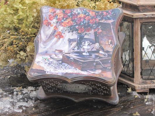 """Корзины, коробы ручной работы. Ярмарка Мастеров - ручная работа. Купить Чайный короб """"Старая терраса, чай, патефон..."""". Handmade."""