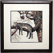 """Картины и панно ручной работы. Ярмарка Мастеров - ручная работа Вышитая картина """"Слишком устал"""". Handmade."""