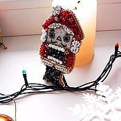 Украшения handmade. Livemaster - original item Nutcracker brooch with beaded embroidery, red and black. Handmade.
