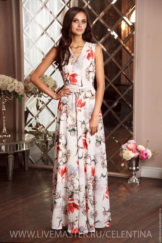 длинное белое платье, платье с V вырезом, платье на выход, платье с цветочным принтом, платье красивое в пол, платье без рукавов, платье вечернее белое, платье для гостя на свадьбе