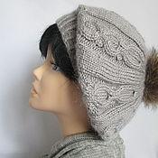 Аксессуары ручной работы. Ярмарка Мастеров - ручная работа Берет серый с помпоном ,берет шапка из ангоры файн. Handmade.