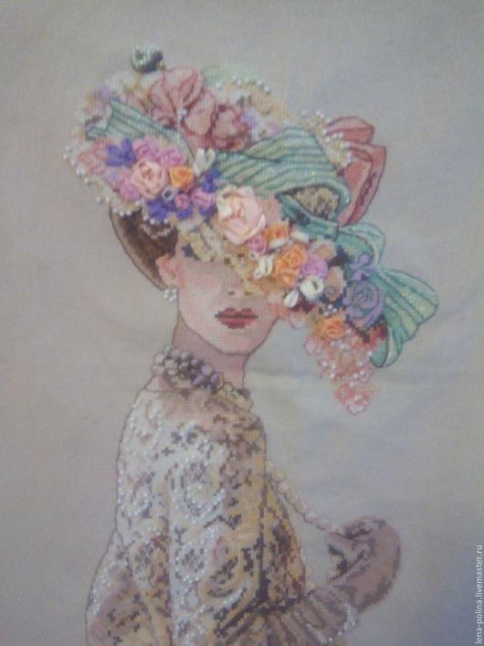 Люди, ручной работы. Ярмарка Мастеров - ручная работа. Купить Дама в шляпе. Handmade. Комбинированный, золотой цвет, бусы, биссер