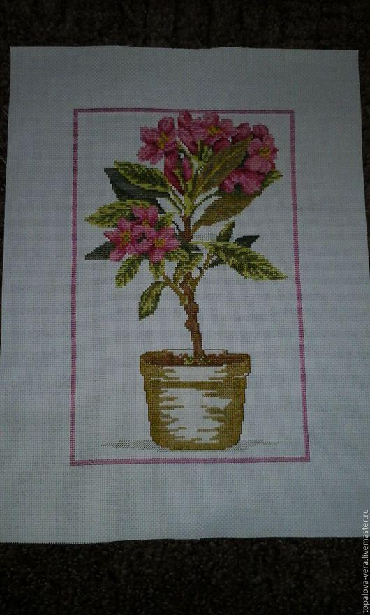 """Вышивка ручной работы. Ярмарка Мастеров - ручная работа. Купить вышитая картина """"Рододендрон"""". Handmade. Розовый, Вышивка крестом, цветы"""