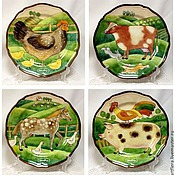 Посуда handmade. Livemaster - original item Painted porcelain Plate porcelain Farm country. Handmade.