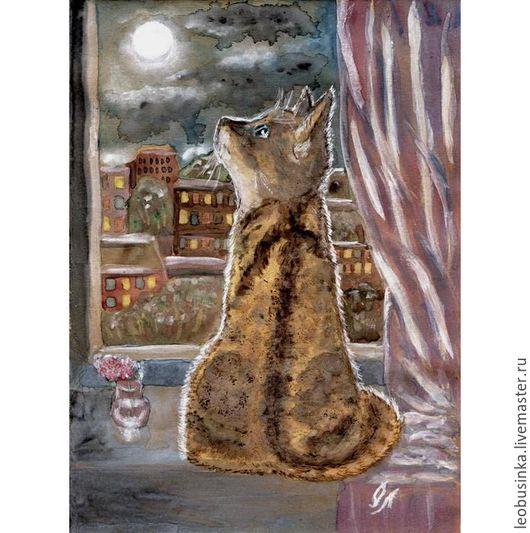 """Животные ручной работы. Ярмарка Мастеров - ручная работа. Купить Рисунок гуашью """"Кошка и луна"""". Handmade. Комбинированный, кошка, лунный"""