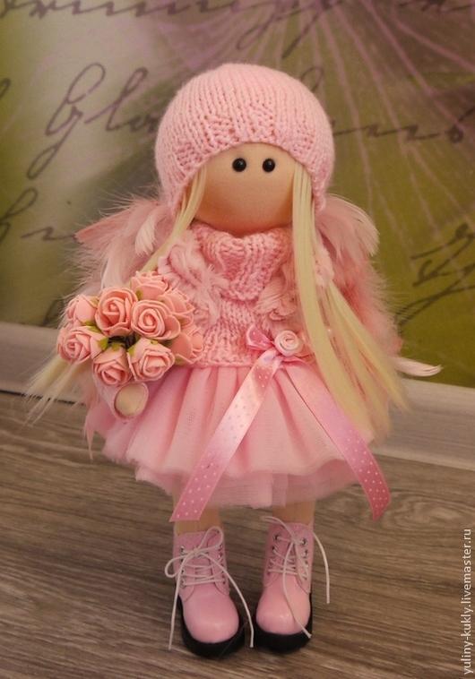Коллекционные куклы ручной работы. Ярмарка Мастеров - ручная работа. Купить Текстильная куколка- малышка Розовое чудо.. Handmade. Розовый