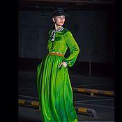 Одежда ручной работы. Ярмарка Мастеров - ручная работа Зеленое шелковое платье «хамелеон». Handmade.