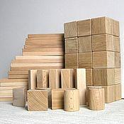 Куклы и игрушки ручной работы. Ярмарка Мастеров - ручная работа 60 шт МИКС бук+дуб Деревянный конструктор, детские деревянные кубики. Handmade.