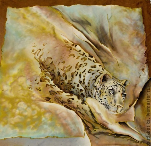Шали, палантины ручной работы. Ярмарка Мастеров - ручная работа. Купить Платок шелковый батик Леопард (атлас). Handmade. Батик