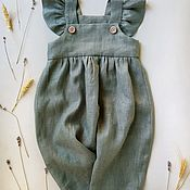 Работы для детей, handmade. Livemaster - original item Linen jumpsuit for girls. Handmade.