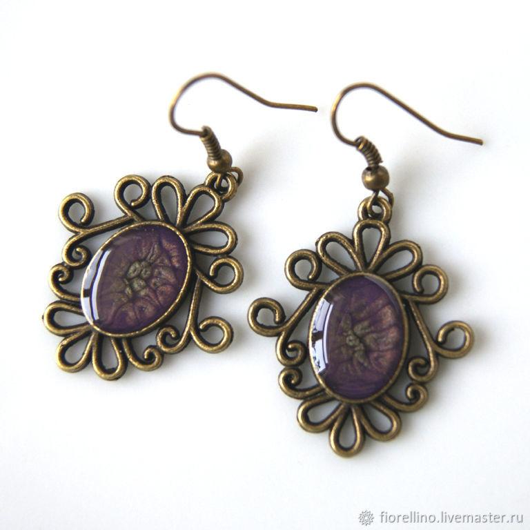 Earrings purple lavender, Earrings, Moscow,  Фото №1