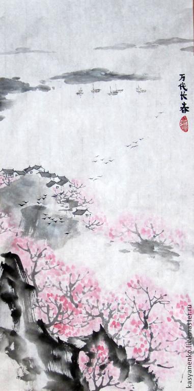 Пейзаж ручной работы. Ярмарка Мастеров - ручная работа. Купить Весенний пейзаж. Handmade. Разноцветный, китайская живопись, китайский стиль
