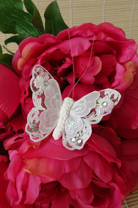 Бабочки с цветочками, стразами и глиттером Д28