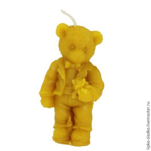 """Свечи ручной работы. Ярмарка Мастеров - ручная работа. Купить Свеча из натурального пчелиного воска """"Медвежонок мальчик"""". Handmade. Оранжевый"""
