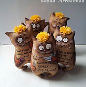 Куклы и игрушки ручной работы. Ярмарка Мастеров - ручная работа Кофейные котики с афоризмами-2. Handmade.