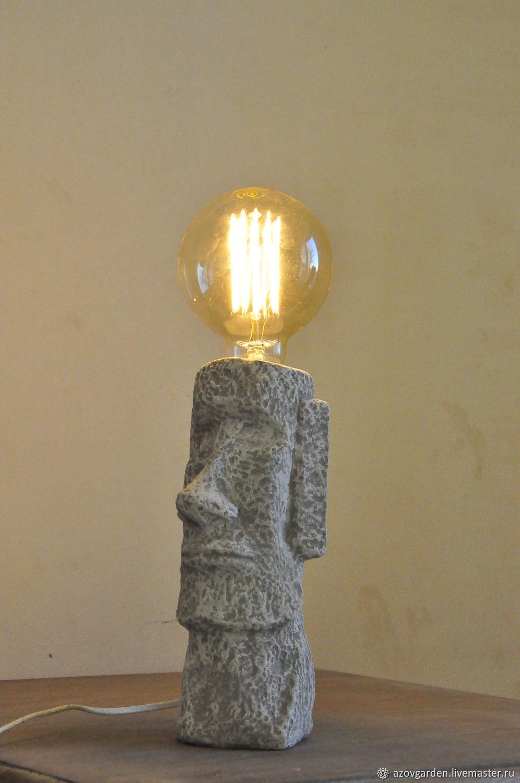 Moai lamp-figurine of concrete large with Edison lamp, Table lamps, Azov,  Фото №1