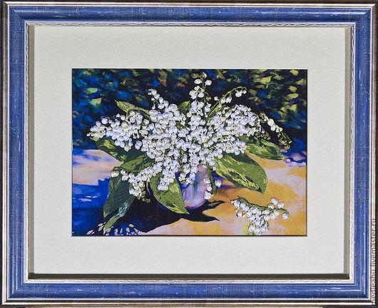 Картины цветов ручной работы. Ярмарка Мастеров - ручная работа. Купить Картина вышитаяя лентами и гладью. Handmade. Вышивка лентами