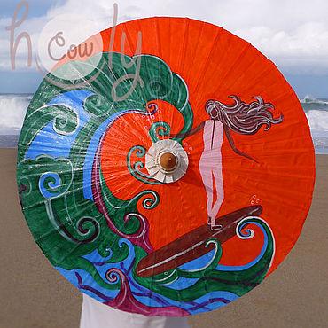 """Аксессуары ручной работы. Ярмарка Мастеров - ручная работа Расписной бамбуковый зонт """"Surf Girl"""". Handmade."""