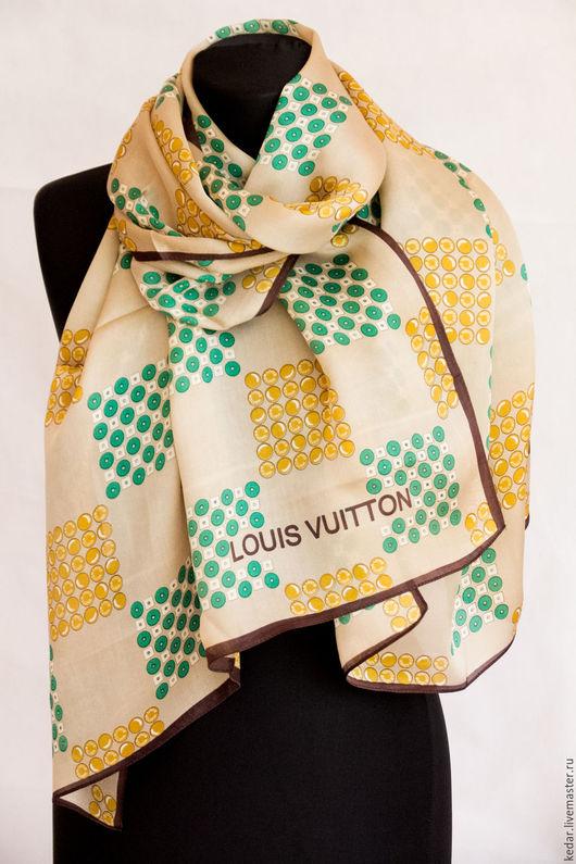 """Шали, палантины ручной работы. Ярмарка Мастеров - ручная работа. Купить Шёлковый платок из ткани Louis VUITTON  """"Матрица"""". Handmade."""