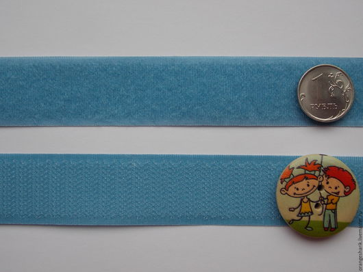 Шитье ручной работы. Ярмарка Мастеров - ручная работа. Купить Лента контактная велкро (липучка) голубая. Handmade. Болотный, липучка